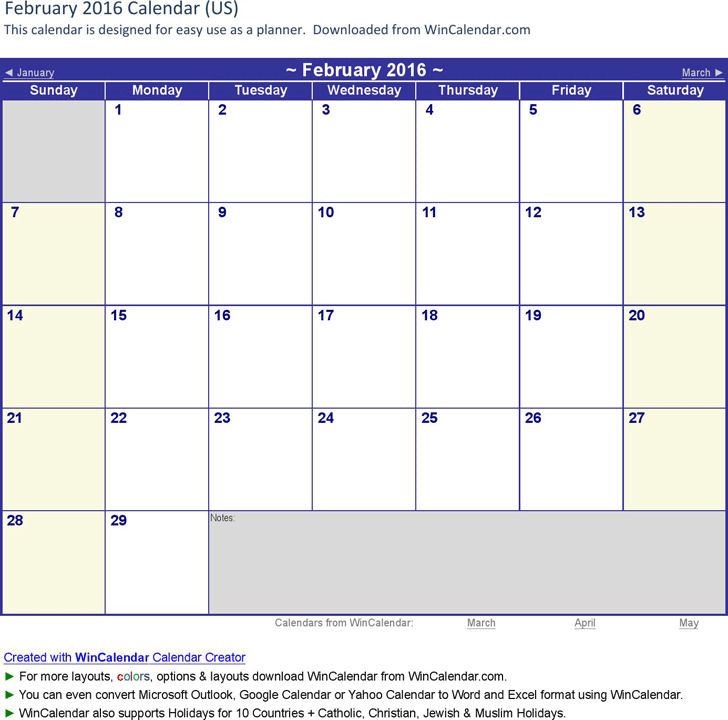 February 2016 Calendar 3