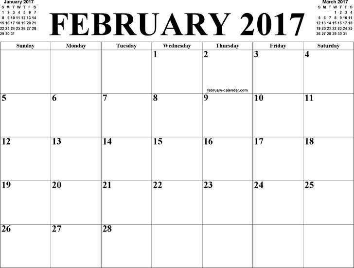 February 2017 Calendar 2
