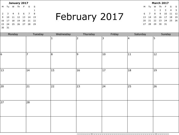 February 2017 Calendar 3