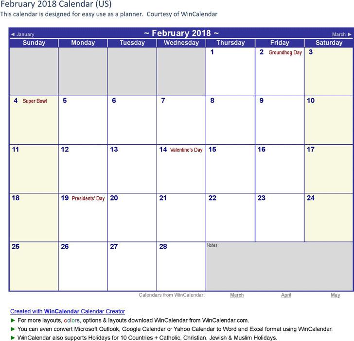 February 2018 Calendar 1