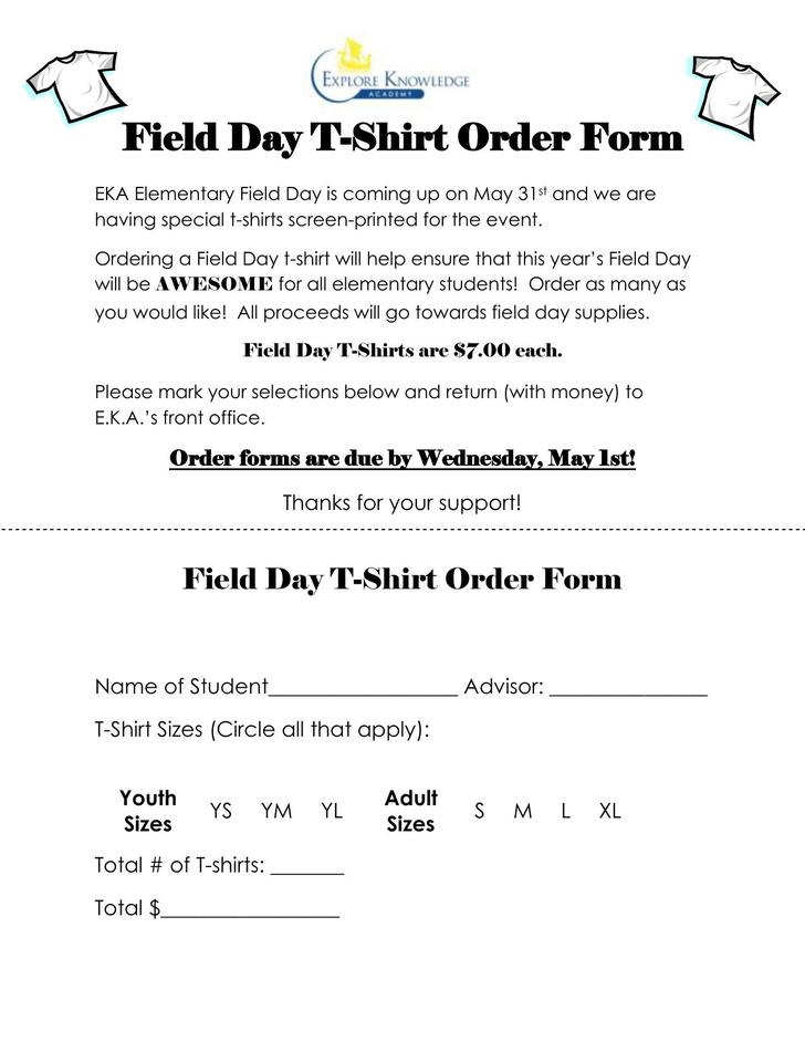 Field Day T-Shirt Order Form Free PDF Download