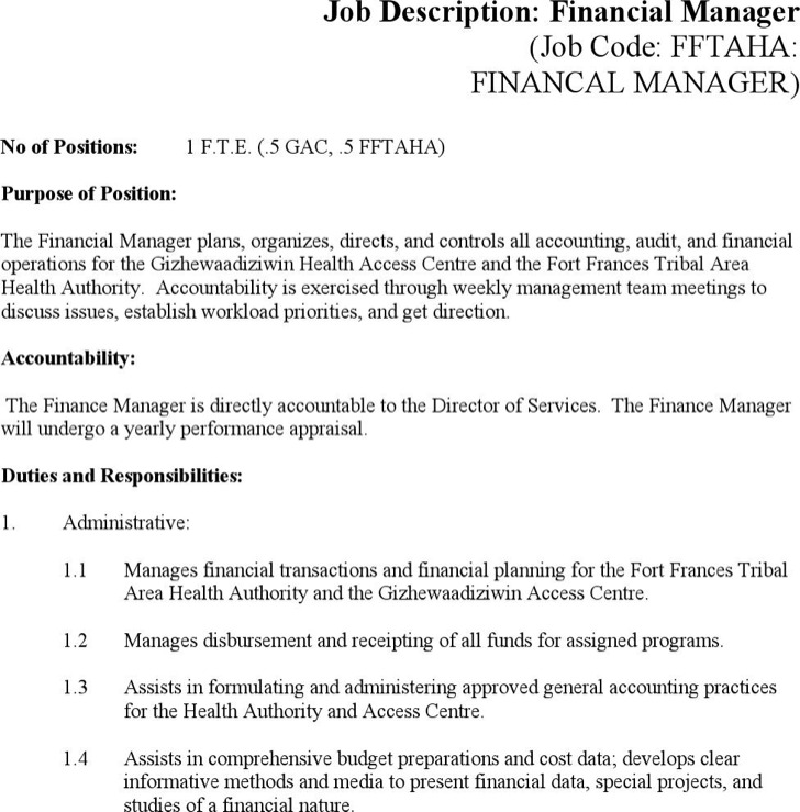 Finance Manager Job Description Template Word