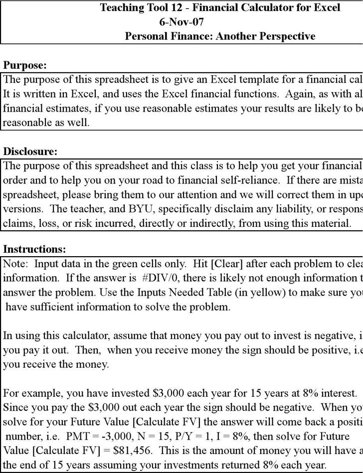 Financial Calculator Excel