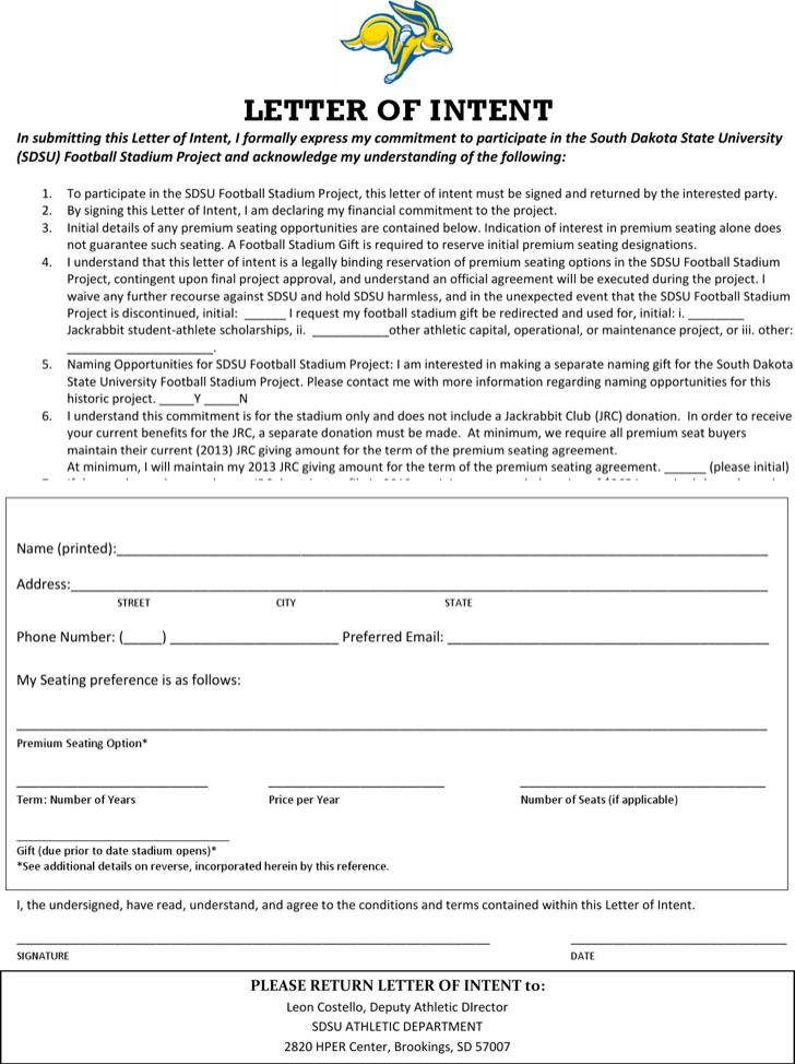 Financial Commitment Letter Of Intent Template