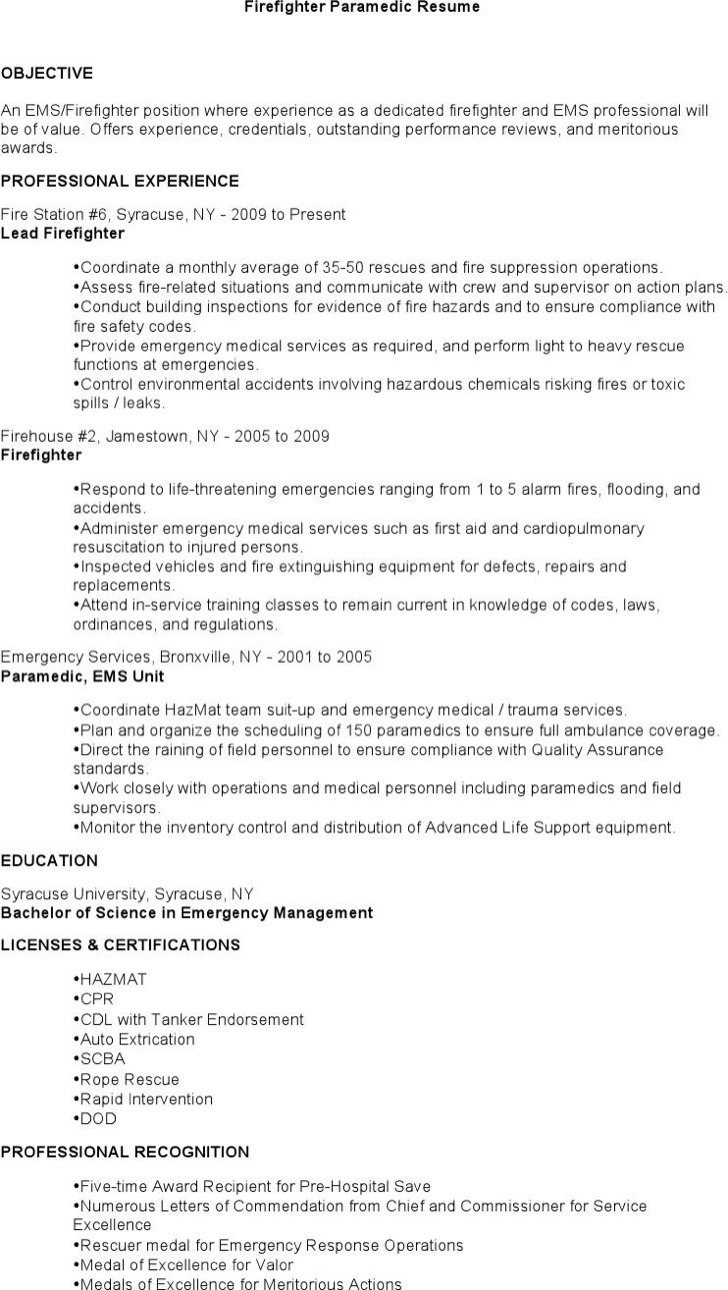 7  firefighter resume templates free download