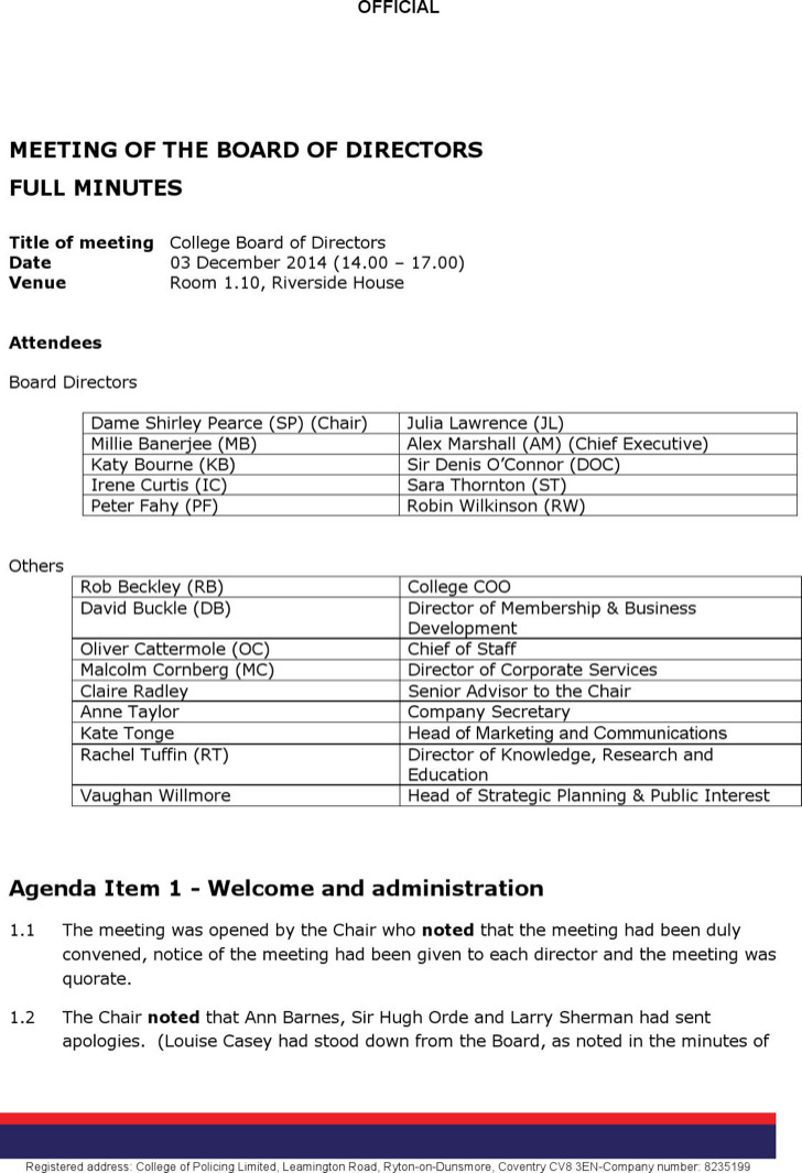 First Board Of Directors Meeting Agenda Sample