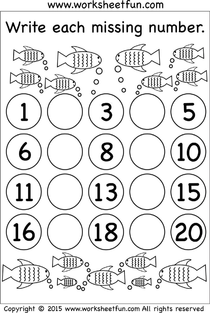 Fish Missing Numbers Worksheet Template