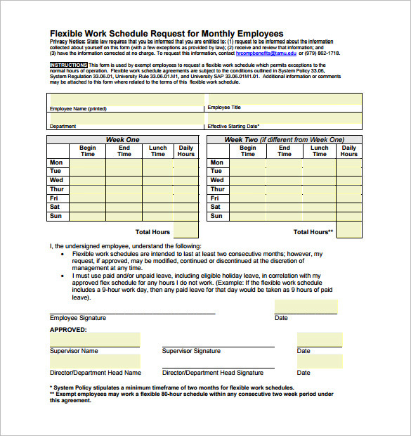 Flexible Work Schedule Request for Monthly Employees PDF
