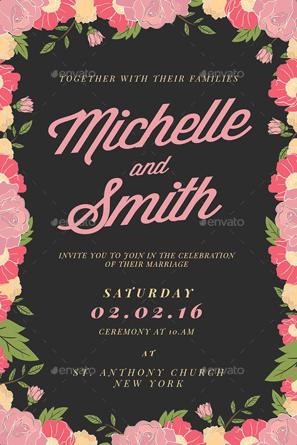 Floral Background Wedding Invitation Template For Download