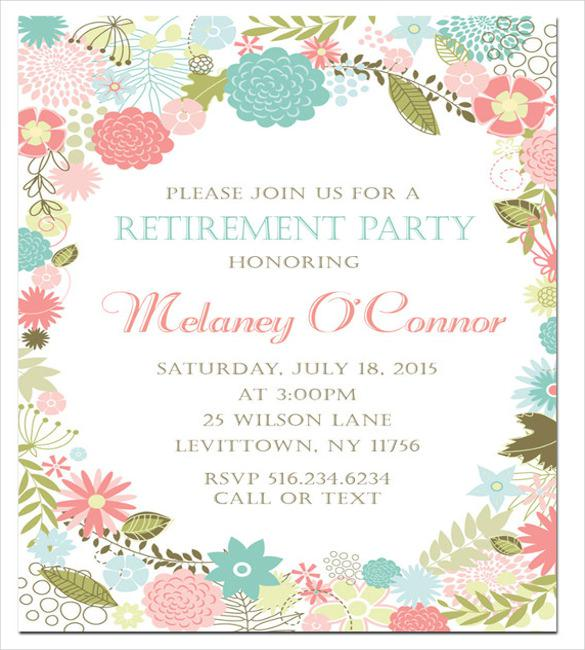 Floral Retirement Invitation