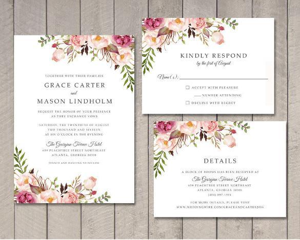 Floral Wedding Invitation Printable DIY