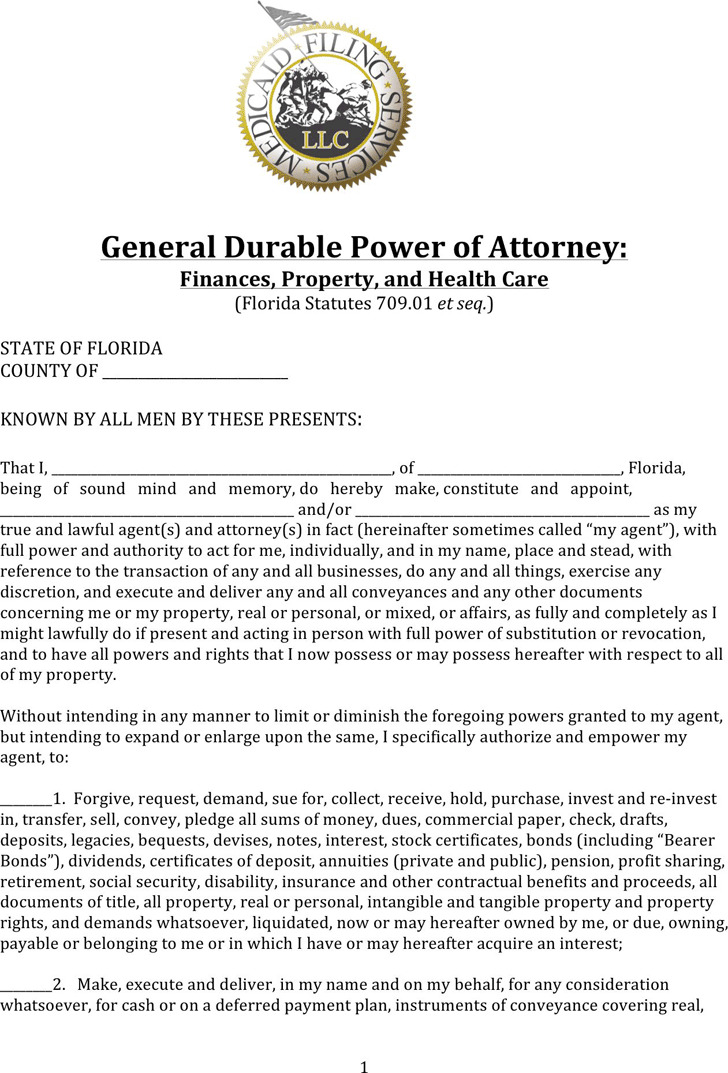 Florida Durable Of Attorney Form For Finances Property And Health Care
