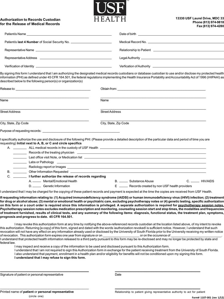 4 Florida Medical Records Release Form Free Download