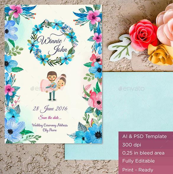 Folral Designed Wedding Backgroun Template For Download