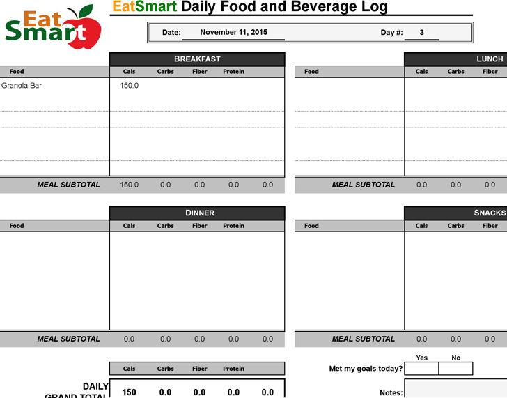 Food log Spreadsheet