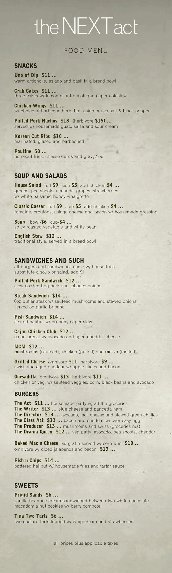Food Menu - the Next Act Pub