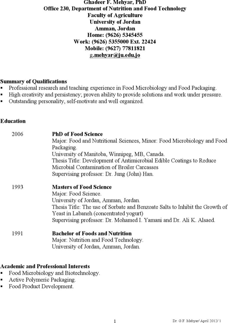 Food Microbiologist Resume