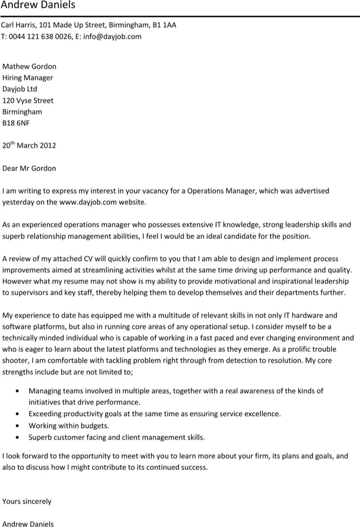 Food Service Operation Manager Cover Letter Template