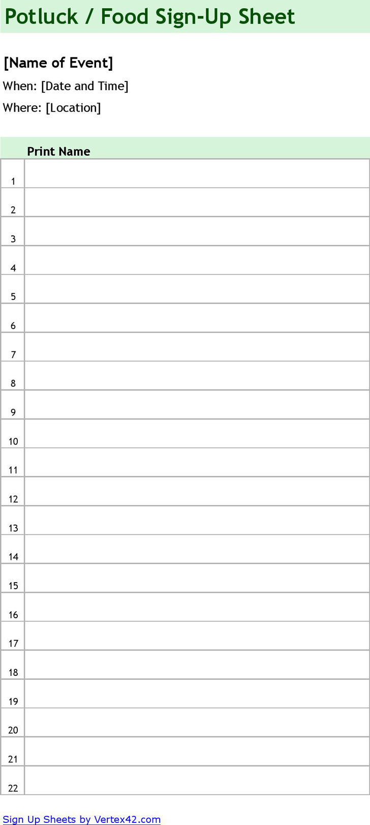 Download Sign Up Sheet Template For Free Tidytemplates