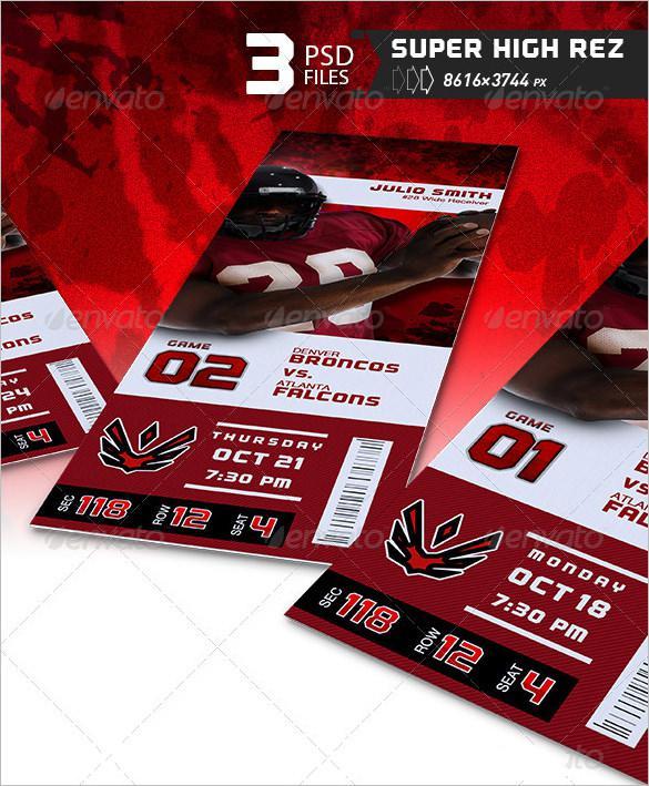 Football Event Ticket Template PSD