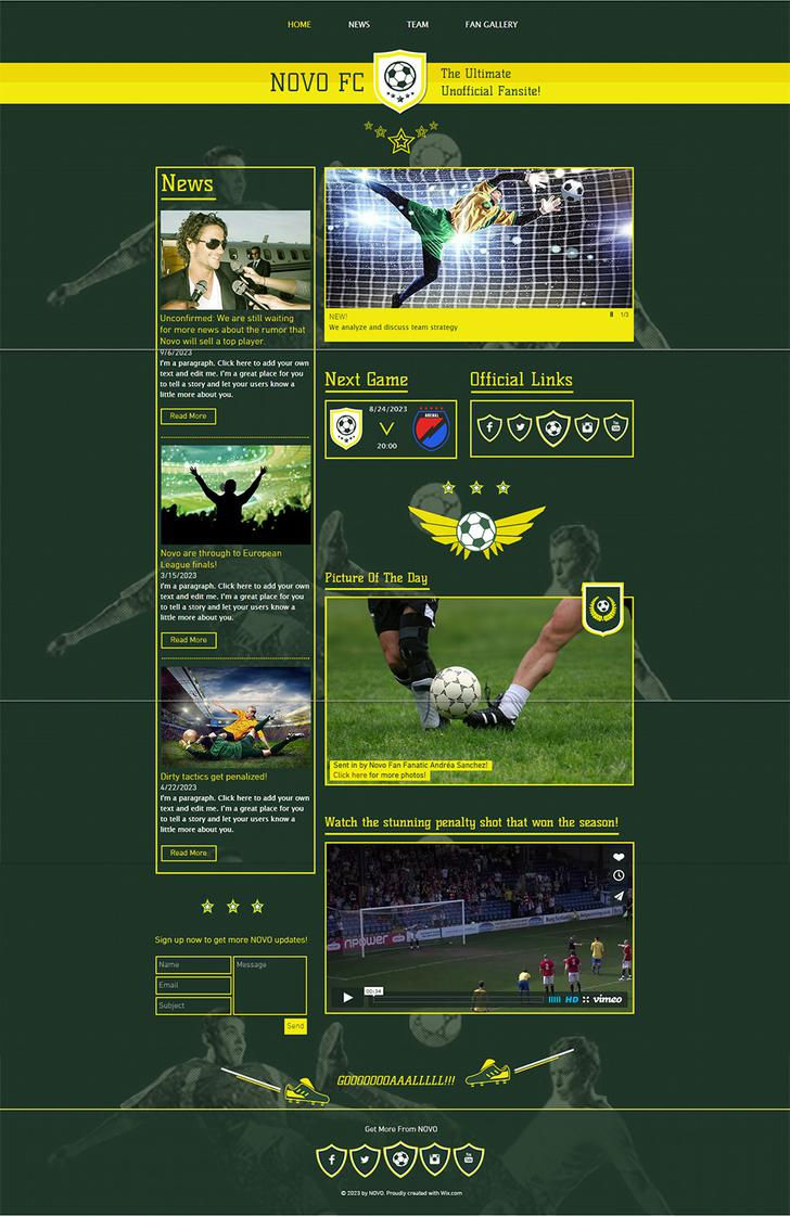 Football Fansite Soccer Website Template