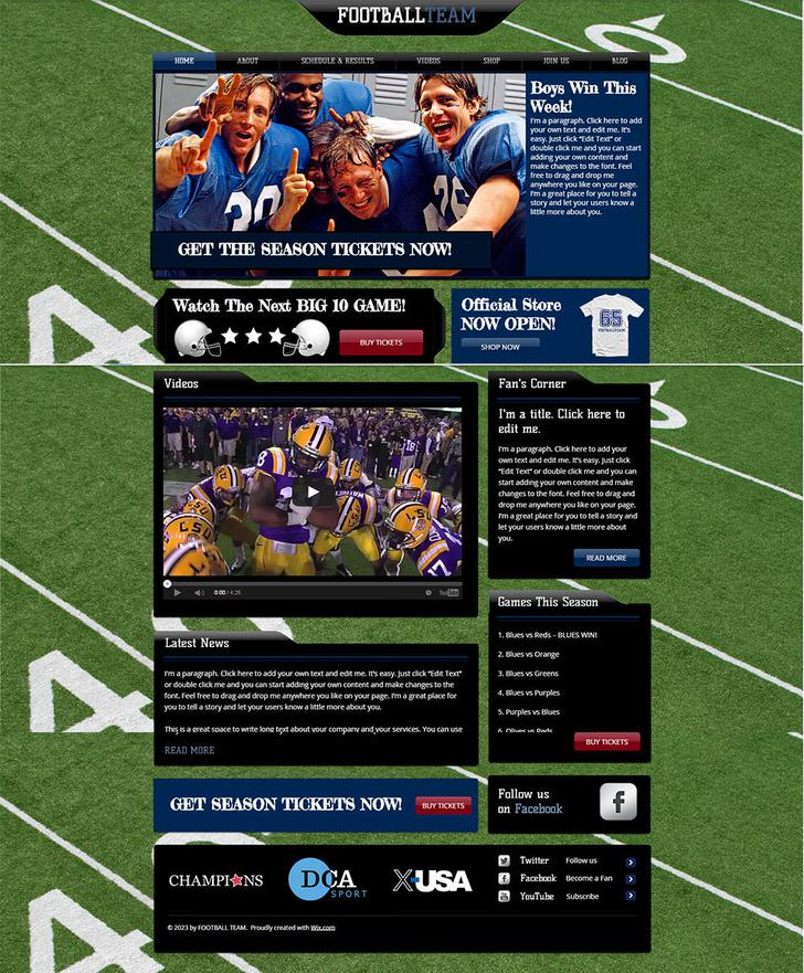Football Soccer Team Website Template