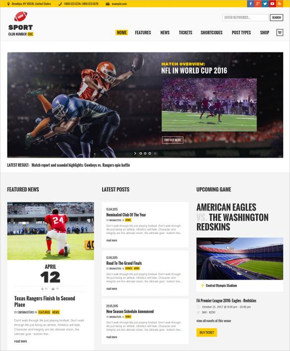 Football Sport News Soccer Theme