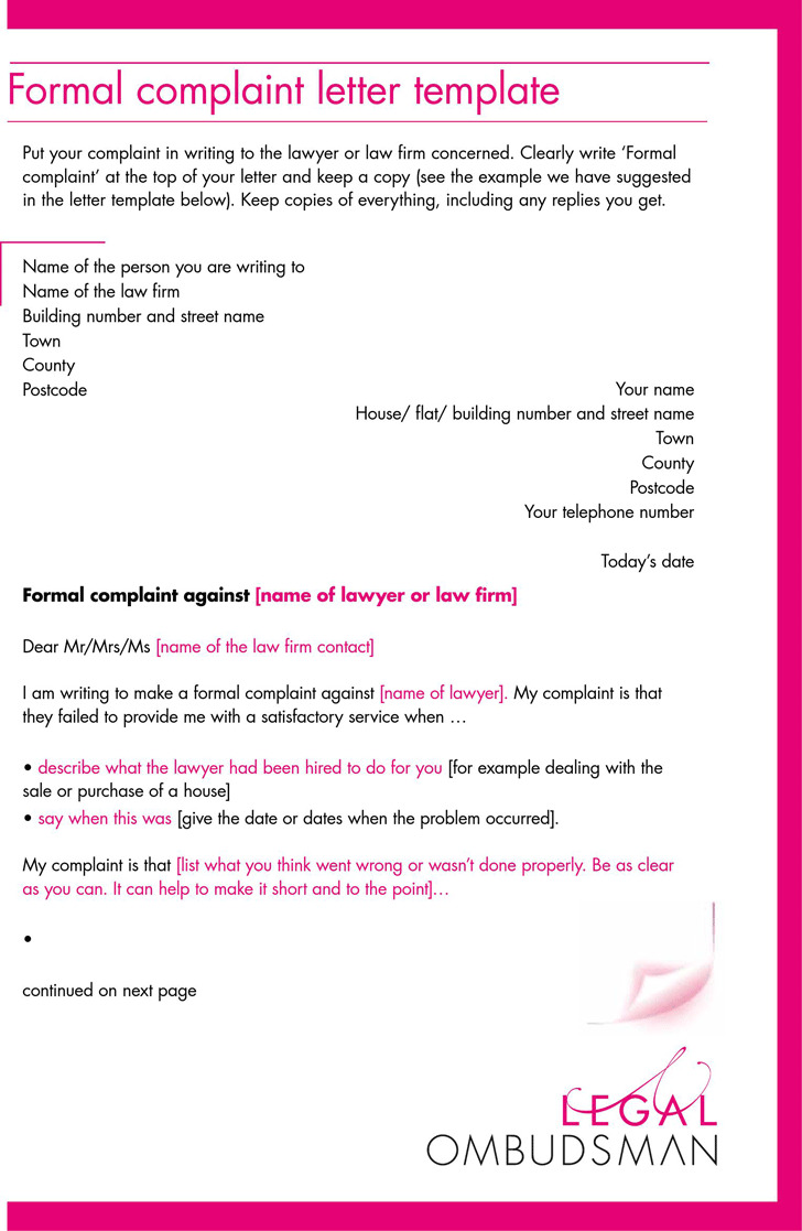 7 complaint letter template free download