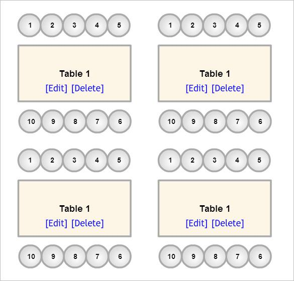 Format of a Wedding Seating Chart Template