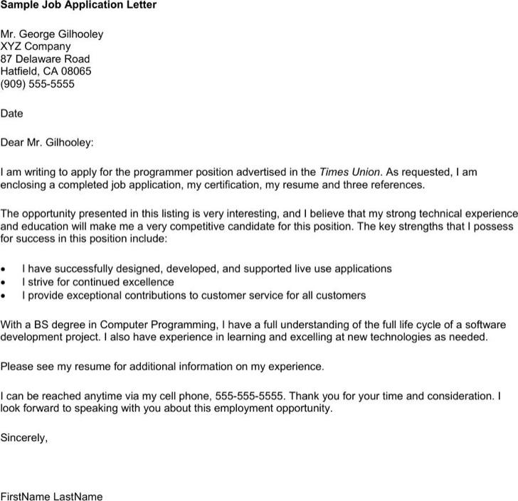 Format Of Application Letter For Job Pdf Printable