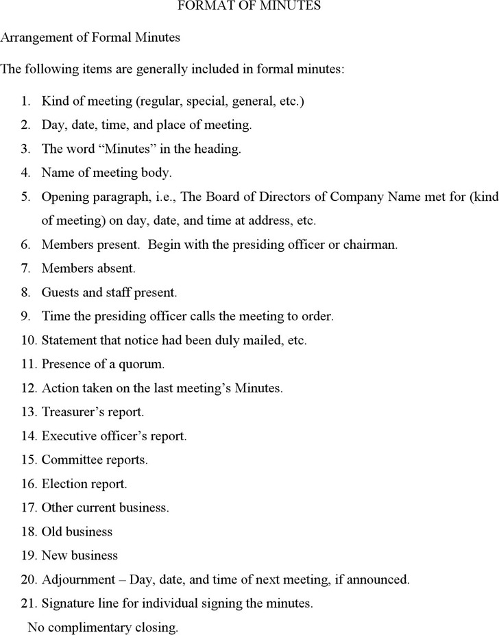 Format of Minutes