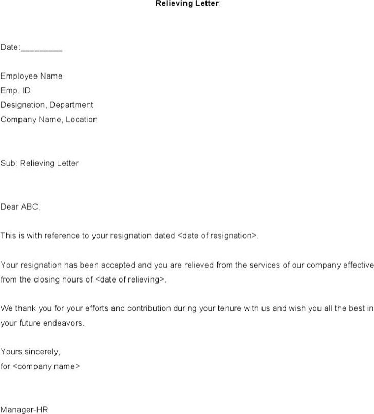 Format Of Relieving Letter From Employee