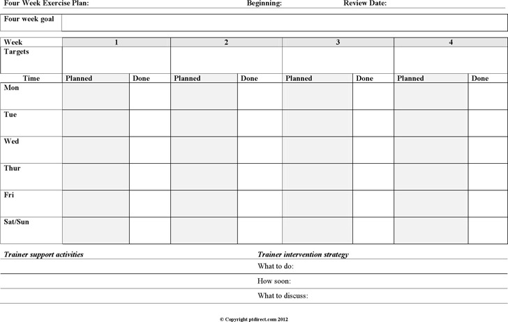 Four Week Exercise Plan Template