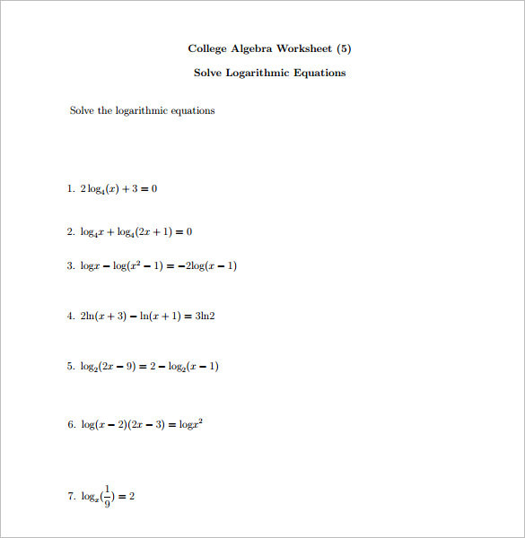 Free Algebra Worksheet Template