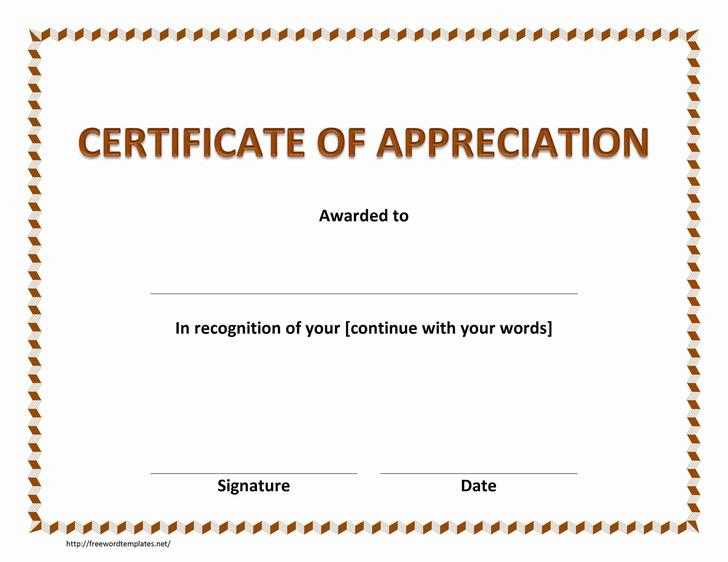 Free Appreciation Word Certificates Template