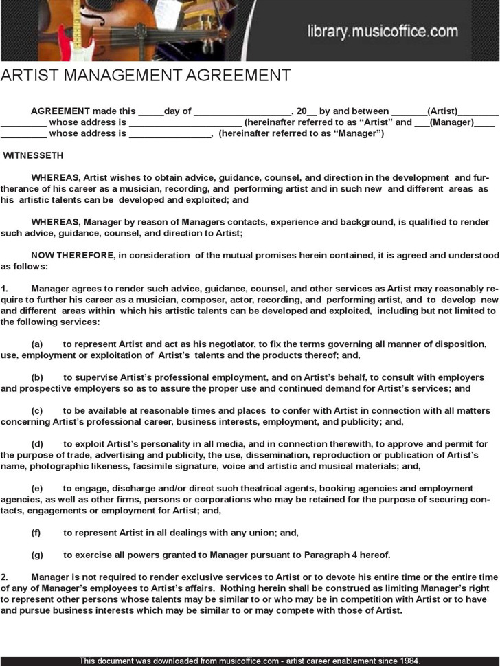 Free Artist Management Contract Template