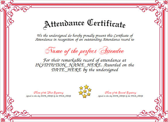11 attendance certificate template free download