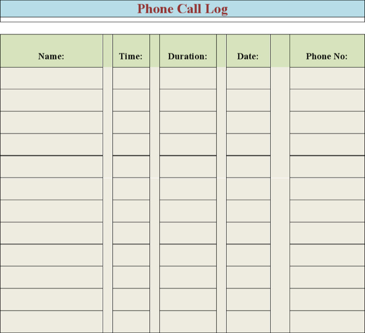 Free Cell Phone Log Template