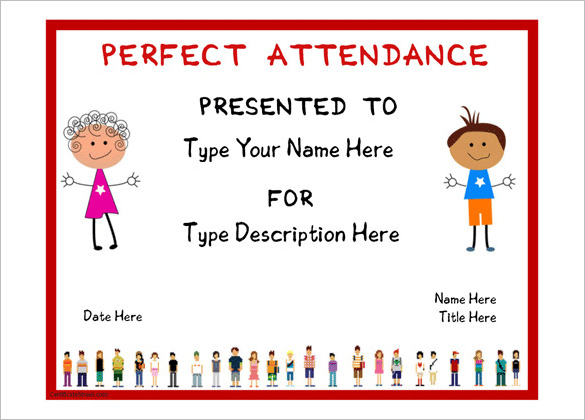 Free Certificate for Perfect Attendence Template
