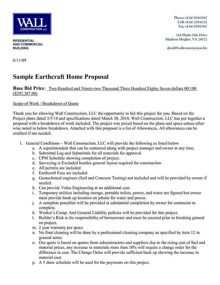 Free Construction Contract Proposal Word Download