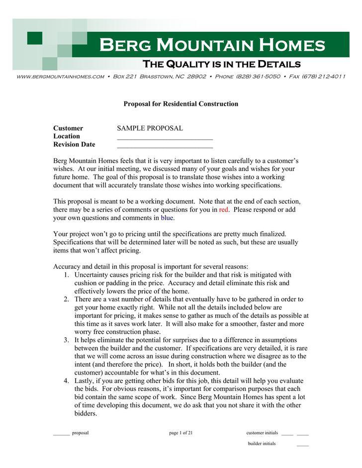 Free Construction Proposal PDF Download