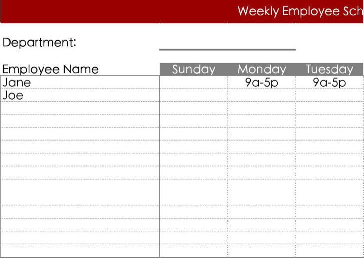 Free Download Blank Employee Work Schedule Template