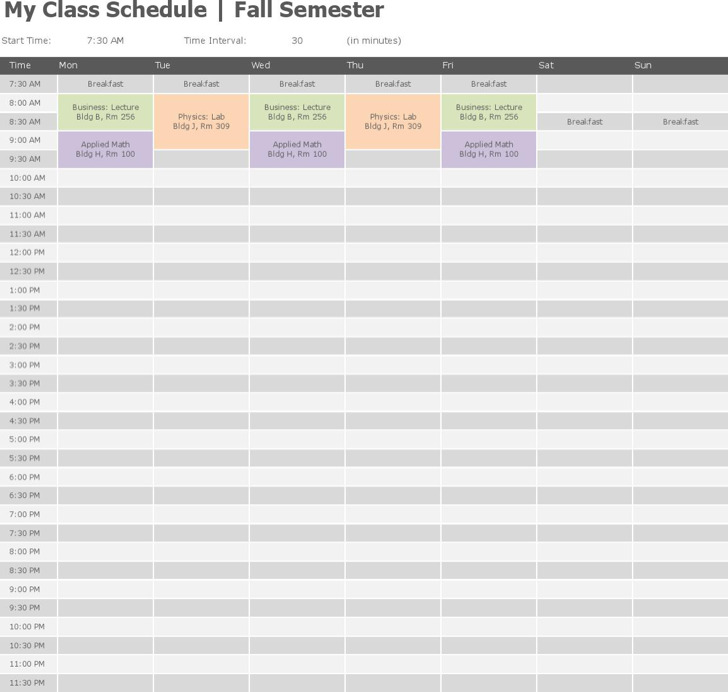 Free Download College Class Schedule Template Word Doc