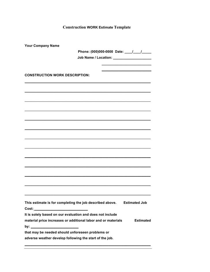 5 construction estimate template free download