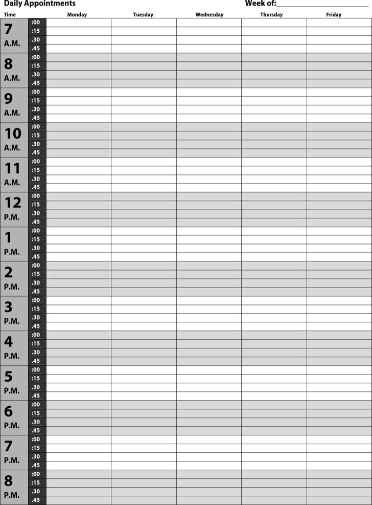 Free Download Daily Appointments Schedule Template Pdf Format