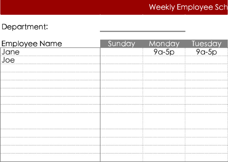 Free Download Daily Work Schedule Template Excel Format