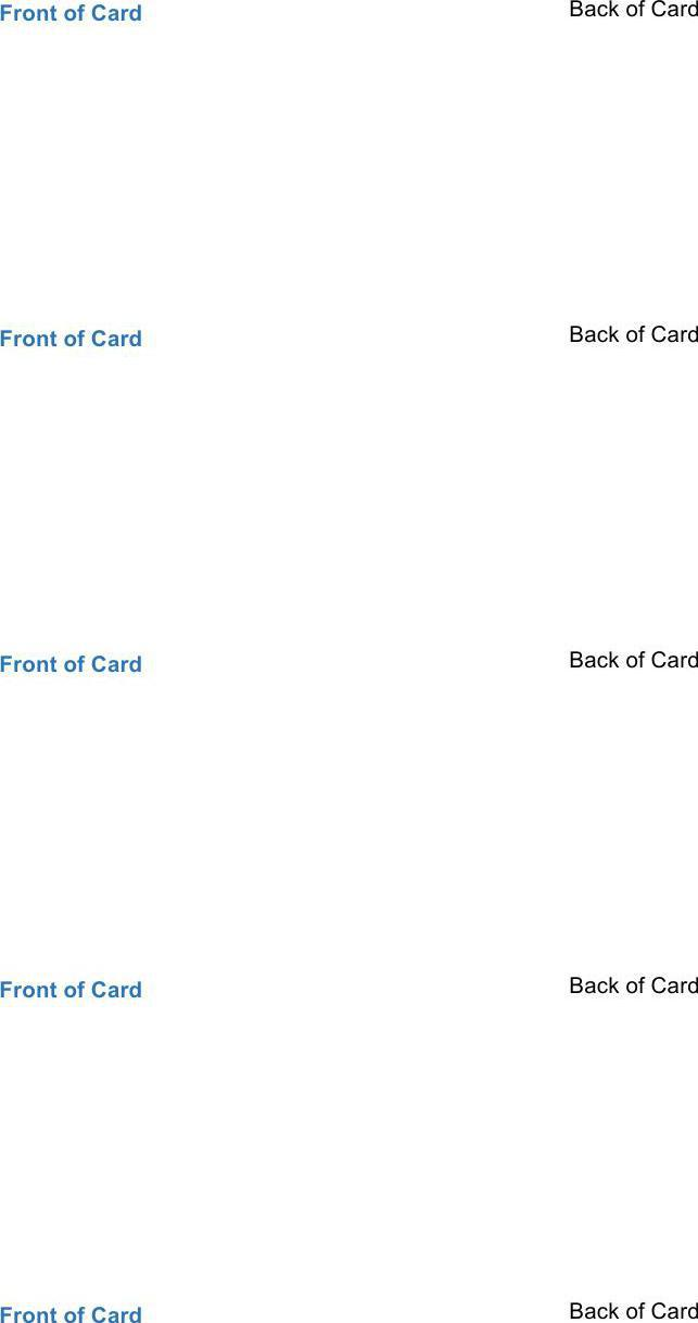 Free Download Flash Card Template in Word Format