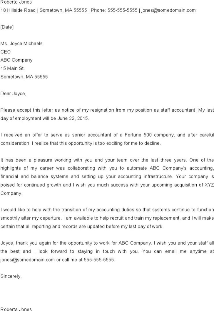 Free Download Format Of Resignation Letter From Job