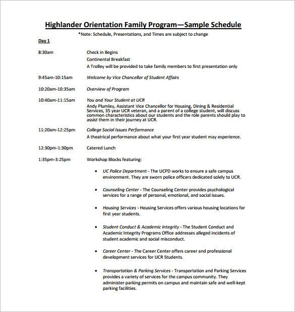 Free Download Highlander Orientation Family Program Schedule
