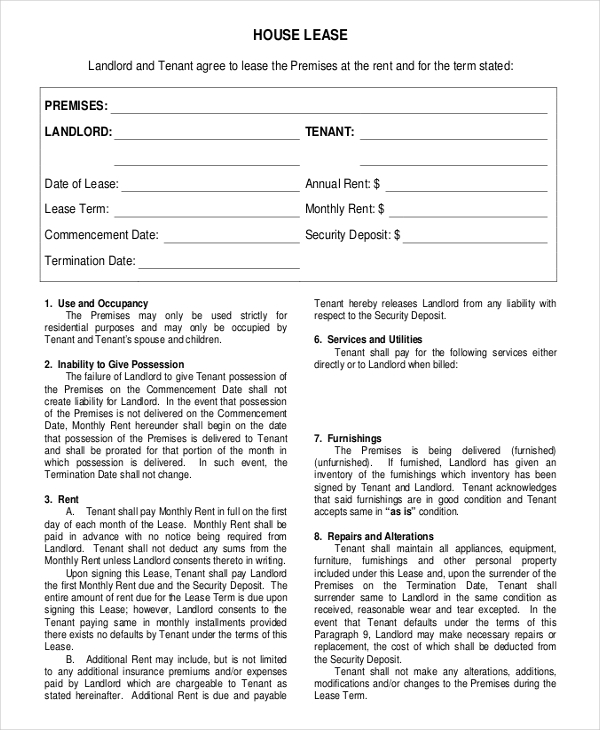 Free Download House Rental Agreement